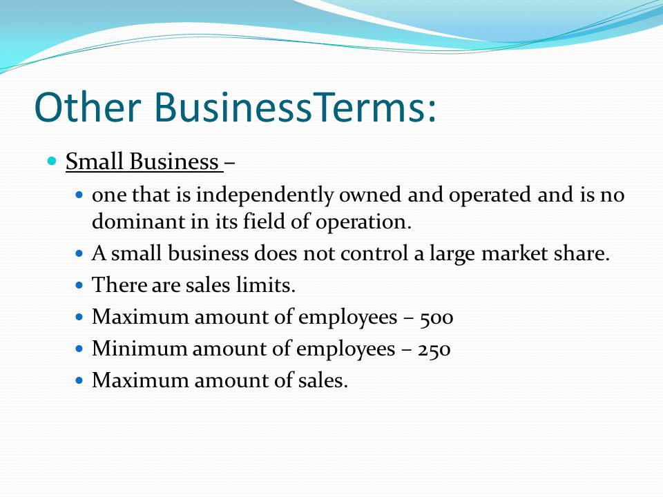Other BusinessTerms: Small Business – one that is independently owned and operated and is no dominant in its field of operation. A small business does