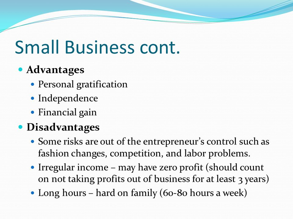 Small Business cont. Advantages Personal gratification Independence Financial gain Disadvantages Some risks are out of the entrepreneur's control such
