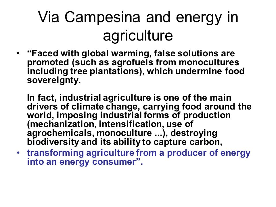Via Campesina and energy in agriculture Faced with global warming, false solutions are promoted (such as agrofuels from monocultures including tree plantations), which undermine food sovereignty.