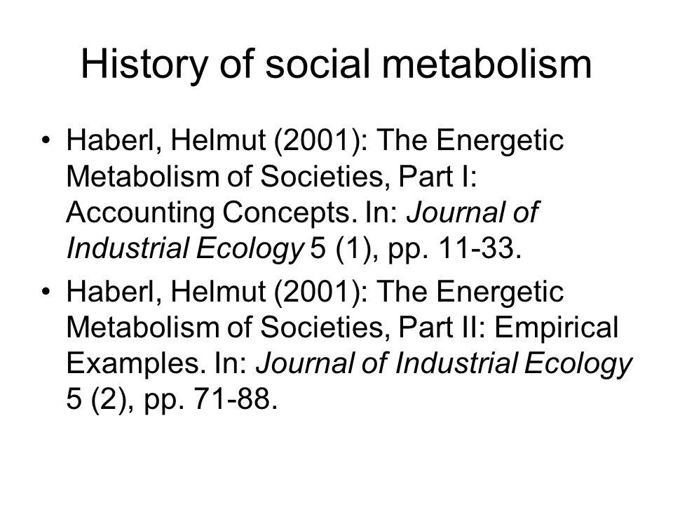 History of social metabolism Fischer-Kowalski, Marina & Walter Hüttler: Society s Metabolism.