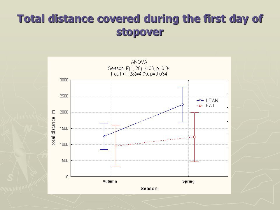 Total distance covered during the first day of stopover
