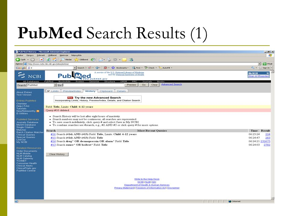 9 PubMed Search Results (1)