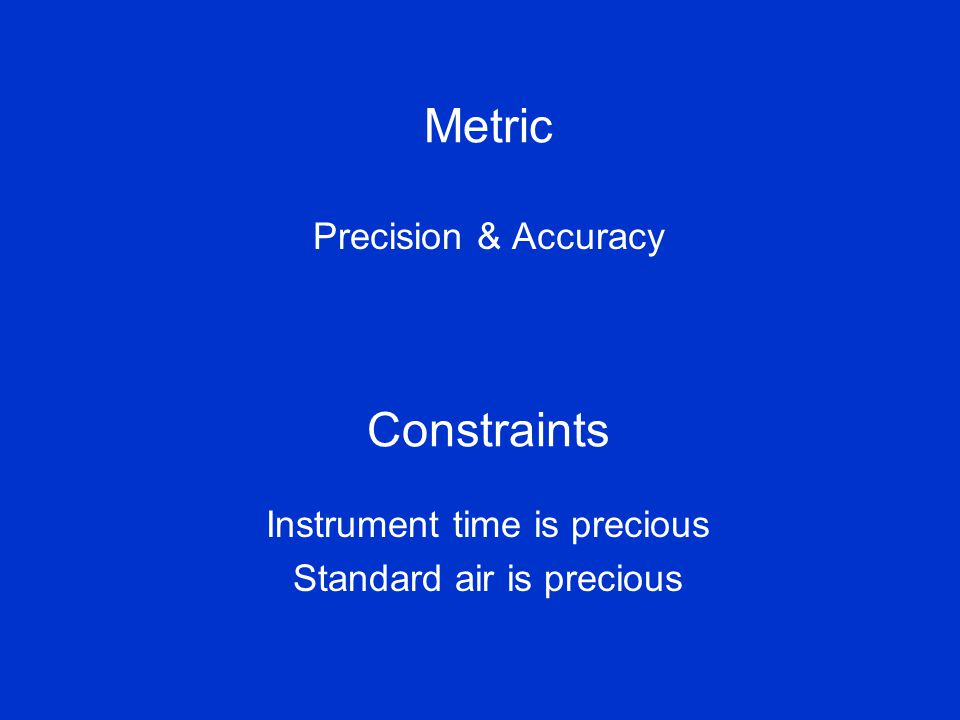 Metric Precision & Accuracy Constraints Instrument time is precious Standard air is precious