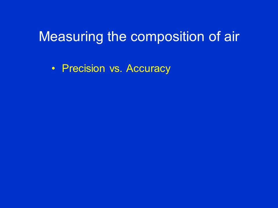 Measuring the composition of air Precision vs. Accuracy