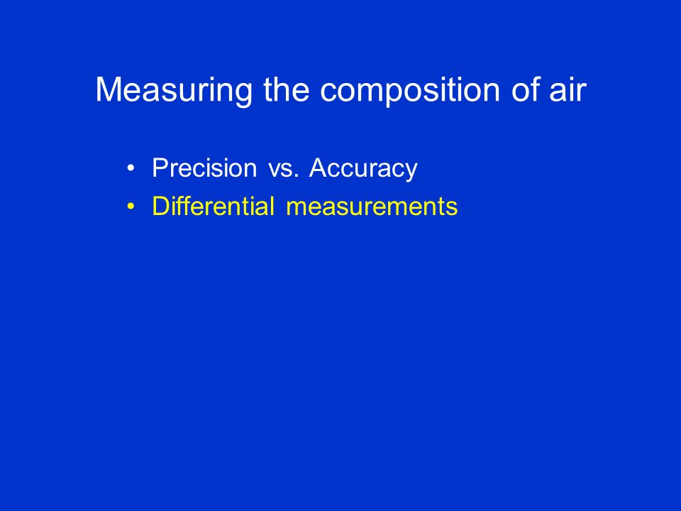 Measuring the composition of air Precision vs. Accuracy Differential measurements