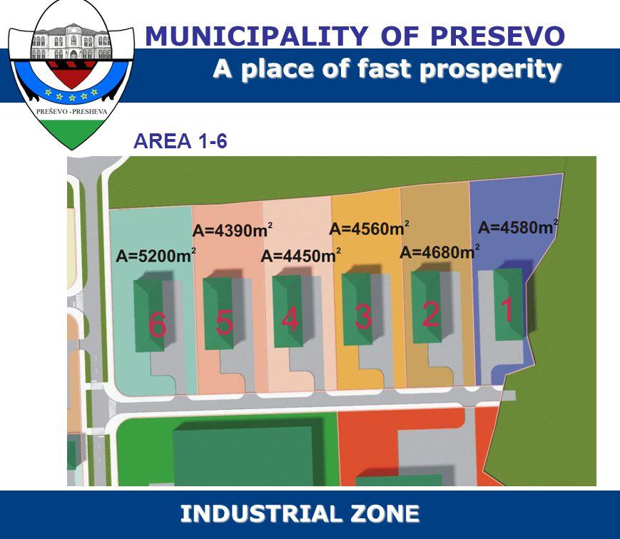 AREA 1-6 MUNICIPALITY OF PRESEVO A place of fast prosperity INDUSTRIA L ZON E