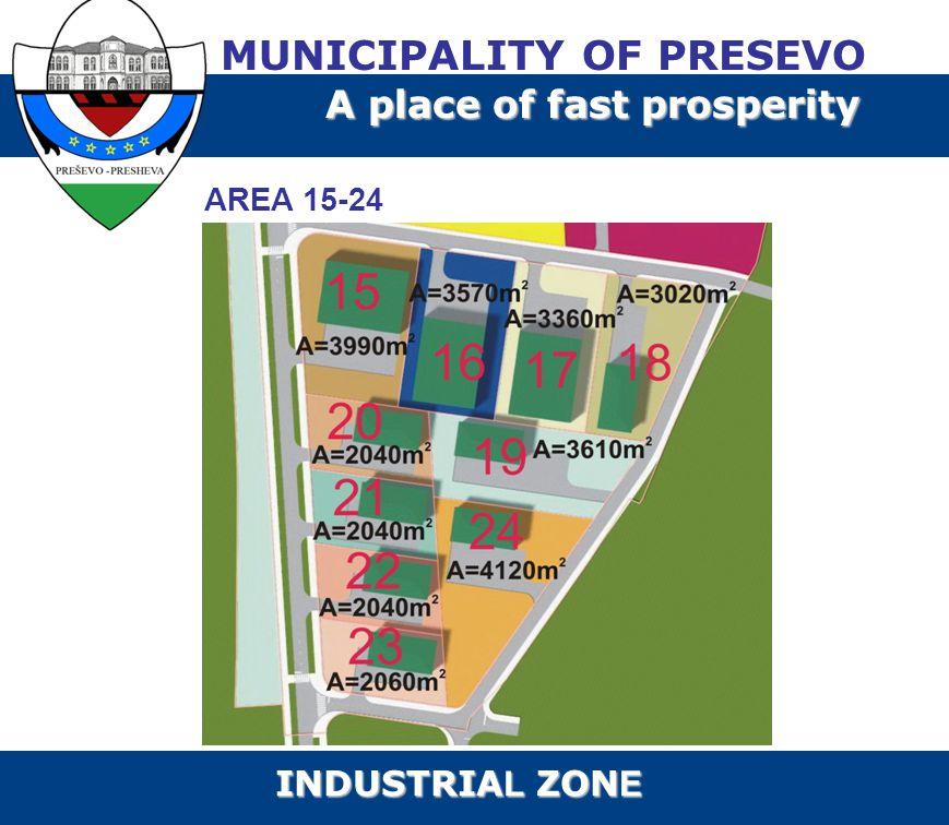 AREA 15-24 MUNICIPALITY OF PRESEVO A place of fast prosperity INDUSTRIA L ZON E