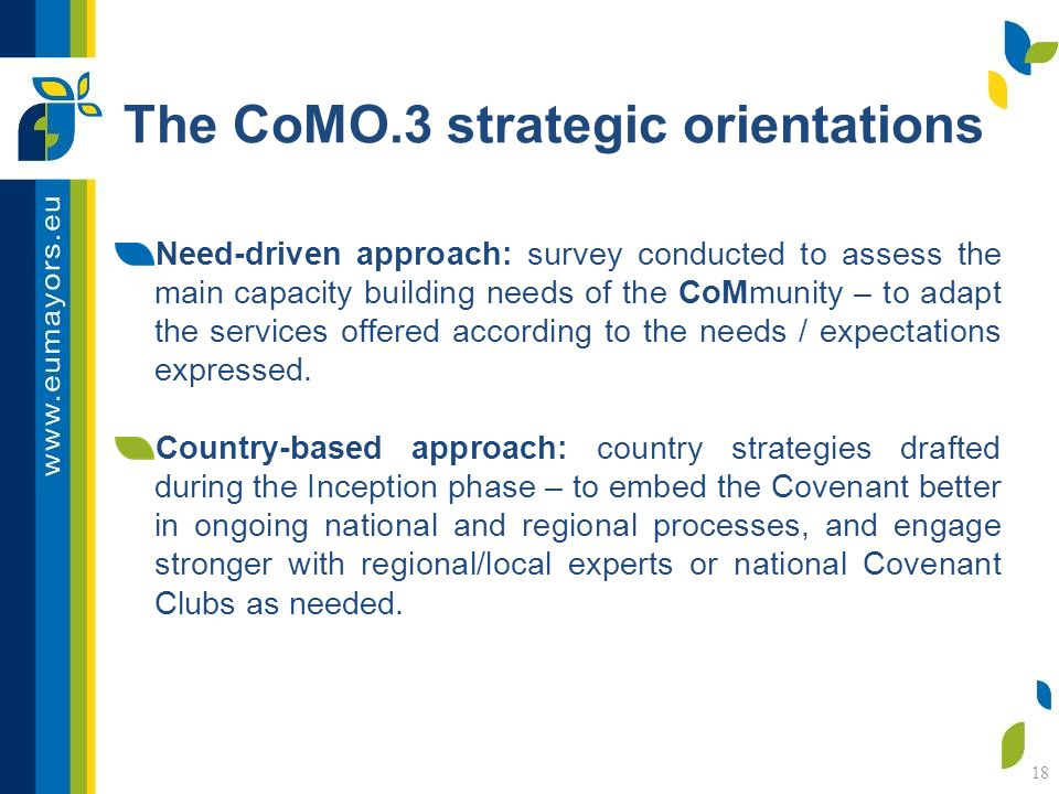 18 The CoMO.3 strategic orientations Need-driven approach: survey conducted to assess the main capacity building needs of the CoMmunity – to adapt the services offered according to the needs / expectations expressed.