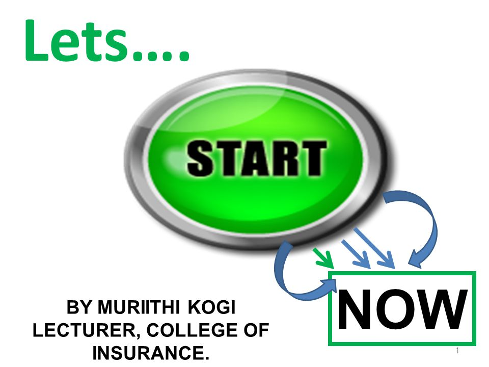 Lets…. NOW BY MURIITHI KOGI LECTURER, COLLEGE OF INSURANCE. 1