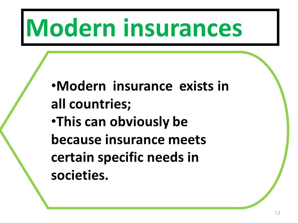 Modern insurances Modern insurance exists in all countries; This can obviously be because insurance meets certain specific needs in societies.