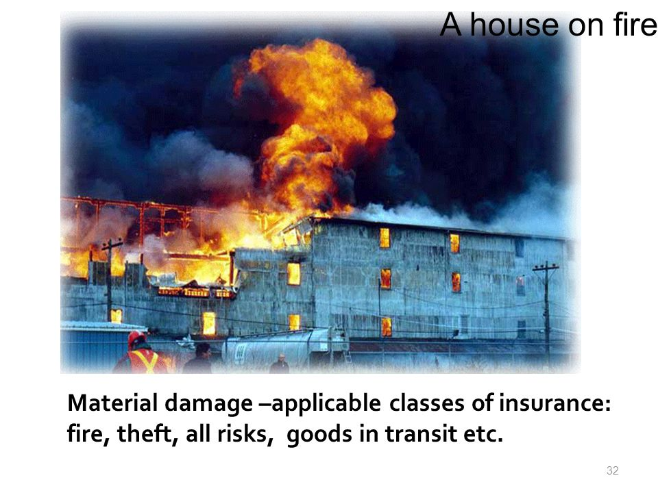 Material damage –applicable classes of insurance: fire, theft, all risks, goods in transit etc.