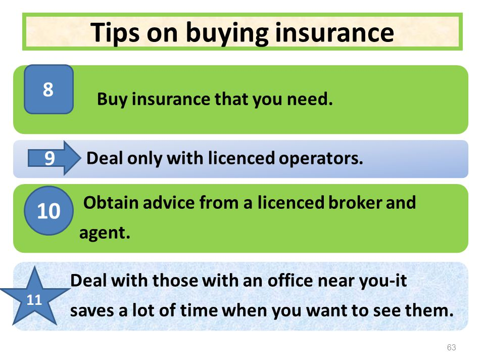 Tips on buying insurance Buy insurance that you need.