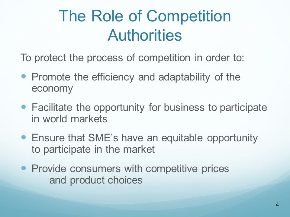 The Role of Competition Authorities To protect the process of competition in order to: Promote the efficiency and adaptability of the economy Facilitate the opportunity for business to participate in world markets Ensure that SME's have an equitable opportunity to participate in the market Provide consumers with competitive prices and product choices 4
