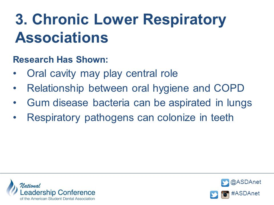 #ASDAnet @ASDAnet 3. Chronic Lower Respiratory Associations Research Has Shown: Oral cavity may play central role Relationship between oral hygiene an