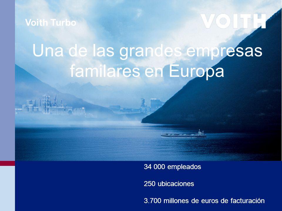 Voith Turbo 34 000 empleados 250 ubicaciones 3.700 millones de euros de facturación Una de las grandes empresas familares en Europa