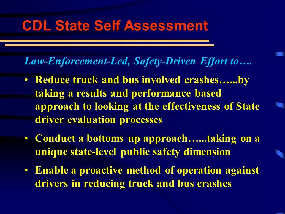 Professional Development Committee is to report back to leadership in May 2001 This is an important role for CVSA -- to provide the membership and the safety community with the tools to increase CMV safety awareness, compliance, and reduce crashes