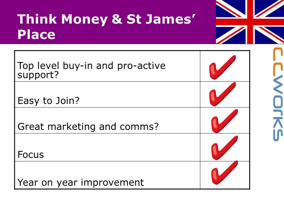 Think Money & St James' Place Top level buy-in and pro-active support? Easy to Join? Great marketing and comms? Focus Year on year improvement