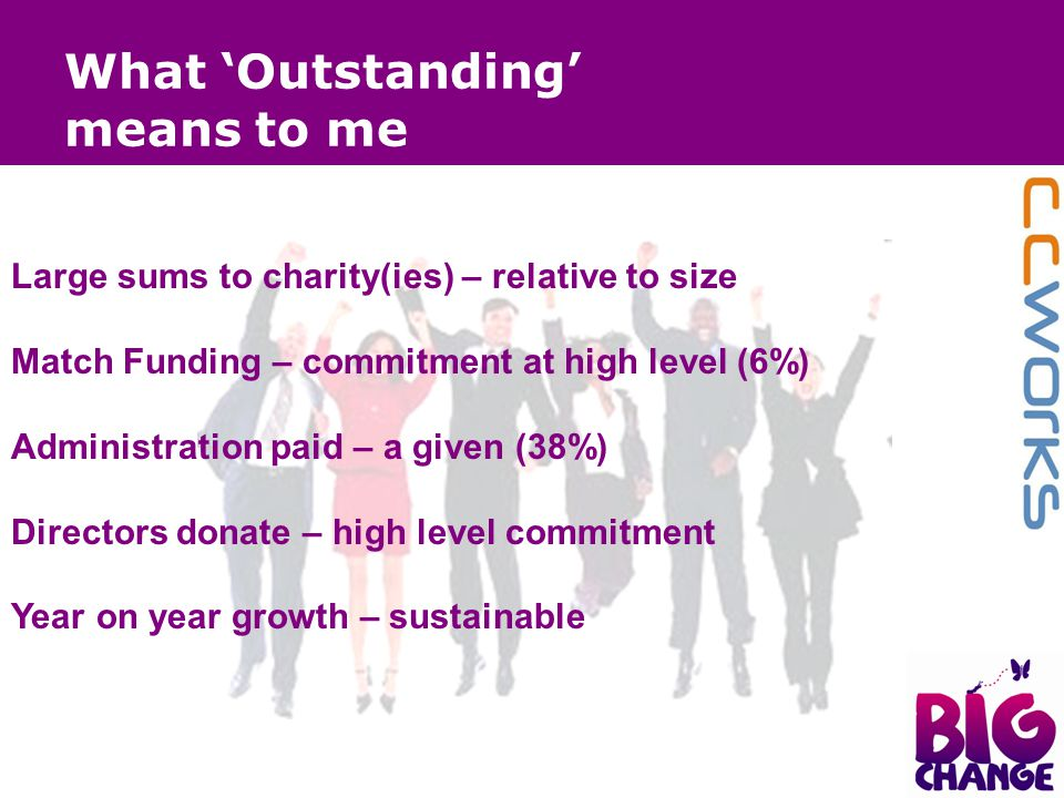 What 'Outstanding' means to me Large sums to charity(ies) – relative to size Match Funding – commitment at high level (6%) Administration paid – a giv
