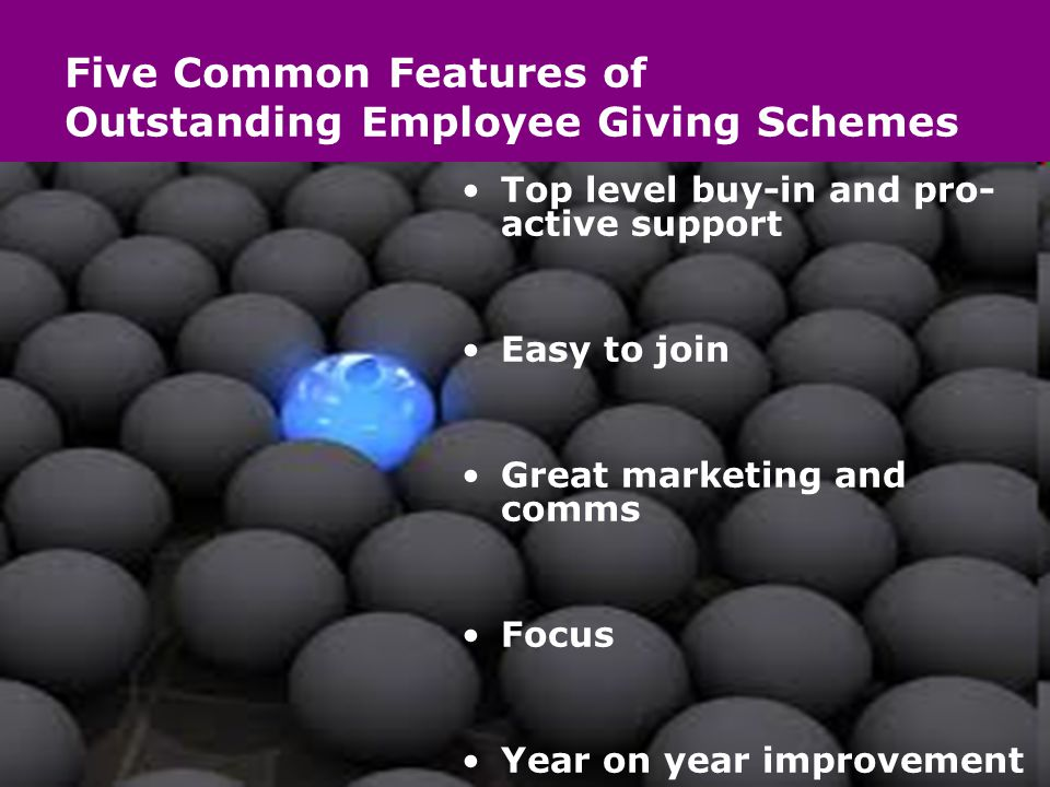 Five Common Features of Outstanding Employee Giving Schemes Top level buy-in and pro- active support Easy to join Great marketing and comms Focus Year