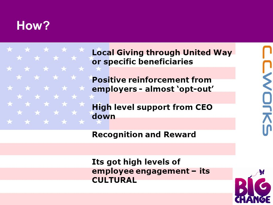 Local Giving through United Way or specific beneficiaries Positive reinforcement from employers - almost 'opt-out' High level support from CEO down Re