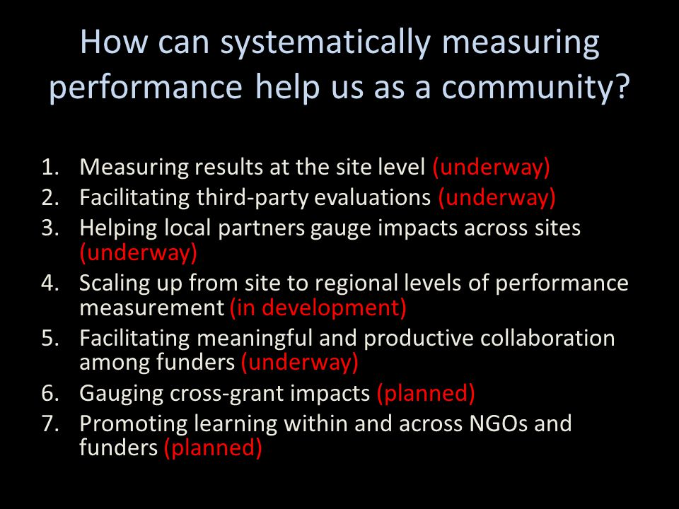 How can systematically measuring performance help us as a community.