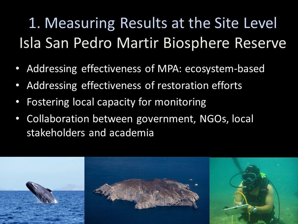 1. Measuring Results at the Site Level Isla San Pedro Martir Biosphere Reserve Addressing effectiveness of MPA: ecosystem-based Addressing effectivene
