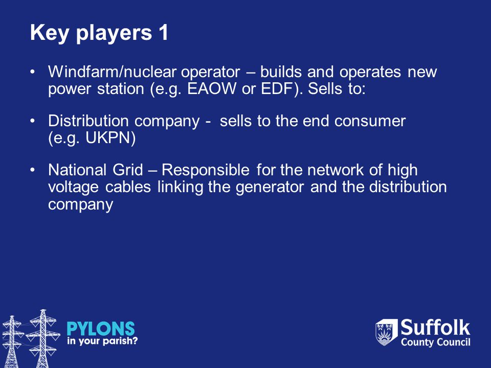 Key players 1 Windfarm/nuclear operator – builds and operates new power station (e.g.