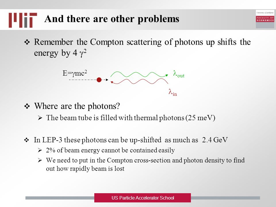 US Particle Accelerator School And there are other problems  Remember the Compton scattering of photons up shifts the energy by 4  2  Where are the