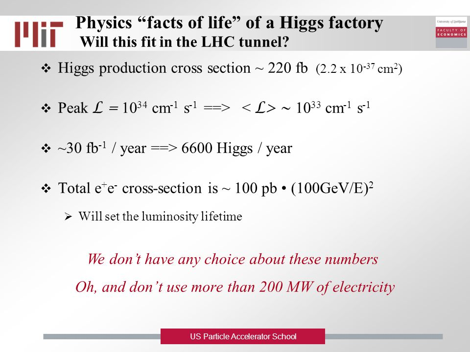 "US Particle Accelerator School Physics ""facts of life"" of a Higgs factory Will this fit in the LHC tunnel?  Higgs production cross section ~ 220 fb ("