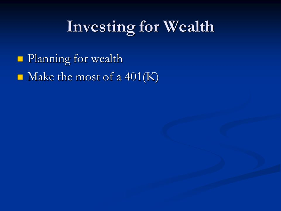 Developing An Investment Strategy Purpose for Investment Purpose for Investment Retirement Retirement Education Education Wealth Accumulation Wealth Accumulation Supplemental Income Supplemental Income Investment Options Investment Options Financial Advisors Financial Advisors Measuring Effectiveness Measuring Effectiveness