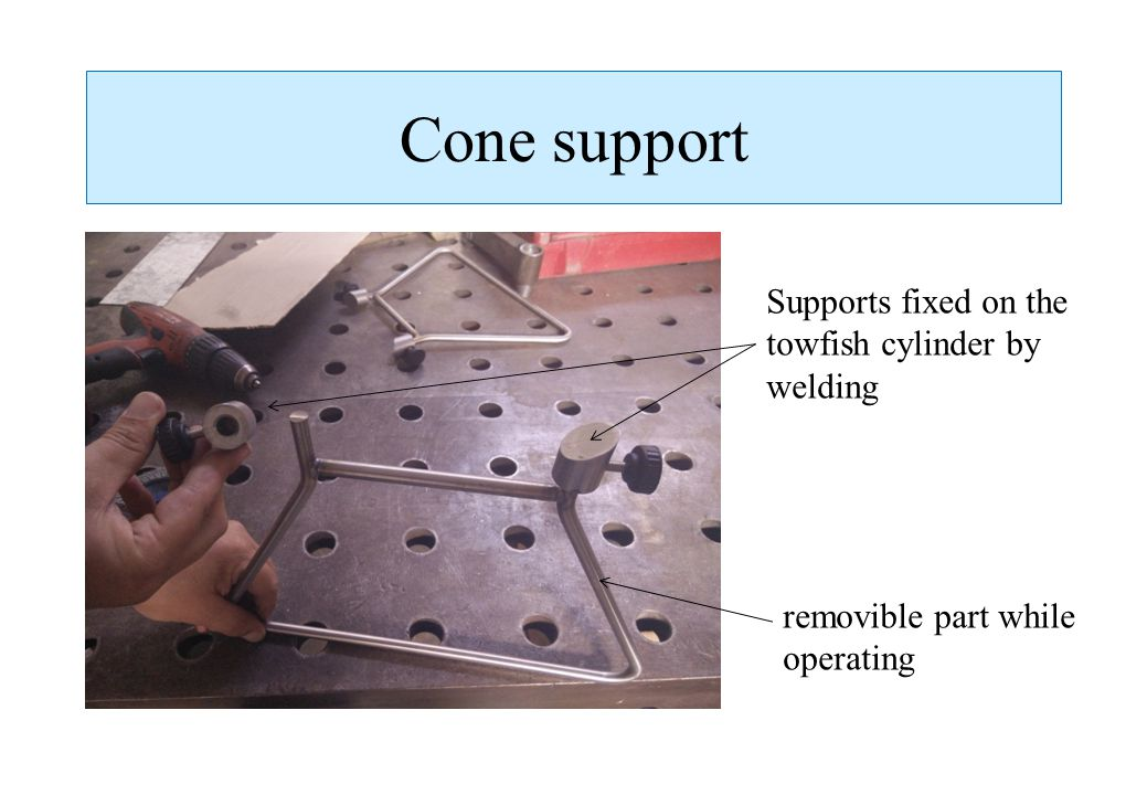 Cone support removible part while operating Supports fixed on the towfish cylinder by welding