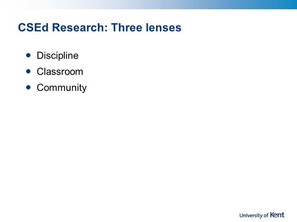 CSEd Research: Three lenses Discipline Classroom Community