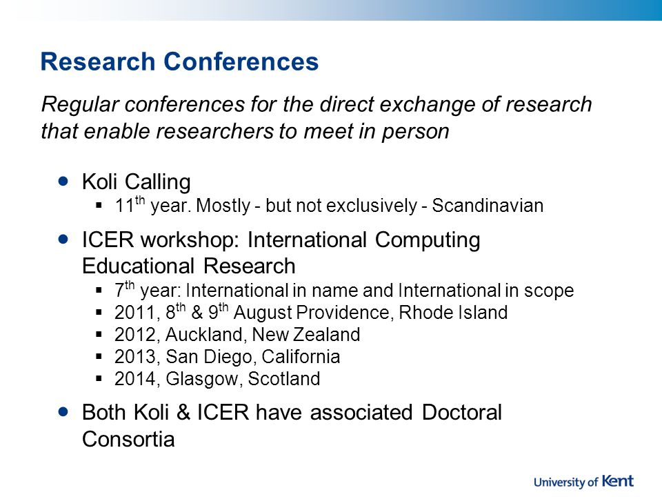Research Conferences Koli Calling  11 th year.