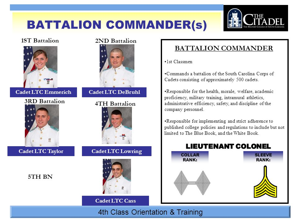 4th Class Orientation & Training SLEEVE RANK: COLLAR RANK: 1ST Battalion BATTALION COMMANDER BATTALION COMMANDER(s) 2ND Battalion 3RD Battalion 4TH Battalion Cadet LTC Emmerich Cadet LTC Cass Cadet LTC TaylorCadet LTC Lowring Cadet LTC DeBruhl 1st Classmen Commands a battalion of the South Carolina Corps of Cadets consisting of approximately 500 cadets.