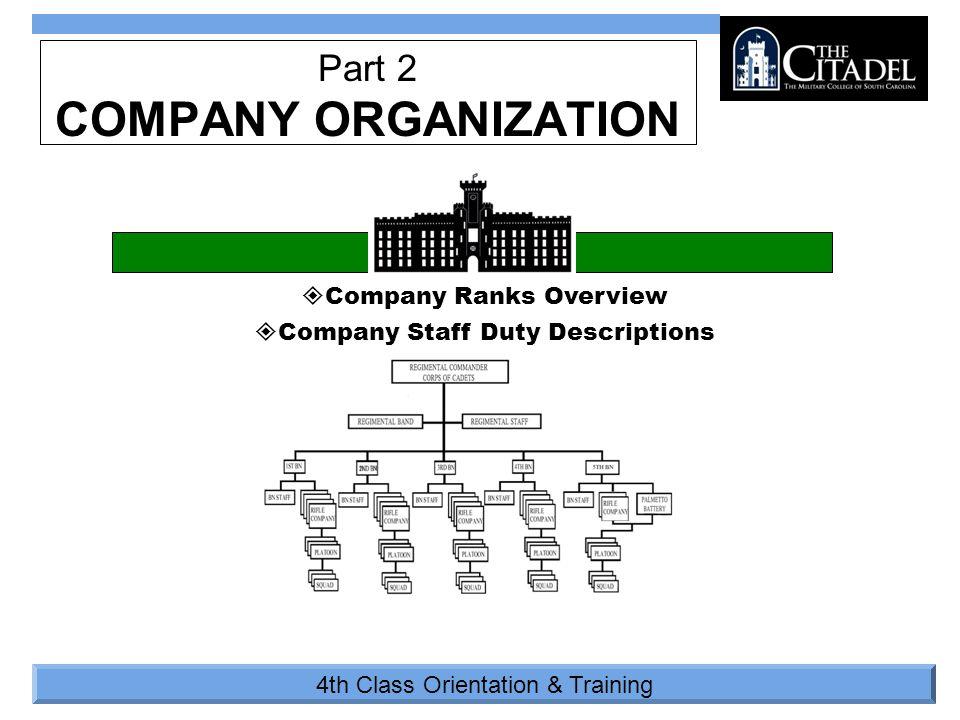 4th Class Orientation & Training  Company Ranks Overview  Company Staff Duty Descriptions Part 2 COMPANY ORGANIZATION
