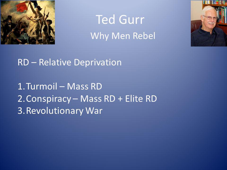 Ted Gurr Why Men Rebel RD – Relative Deprivation 1.Turmoil – Mass RD 2.Conspiracy – Mass RD + Elite RD 3.Revolutionary War