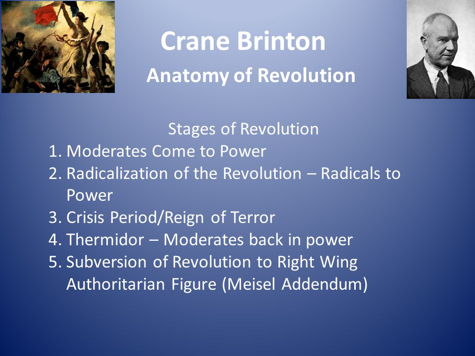 Crane Brinton Anatomy of Revolution Stages of Revolution 1.Moderates Come to Power 2.Radicalization of the Revolution – Radicals to Power 3.Crisis Per