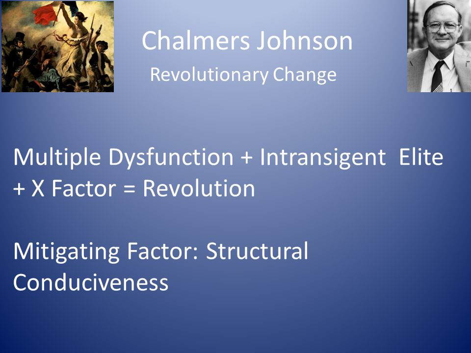 Chalmers Johnson Revolutionary Change Multiple Dysfunction + Intransigent Elite + X Factor = Revolution Mitigating Factor: Structural Conduciveness