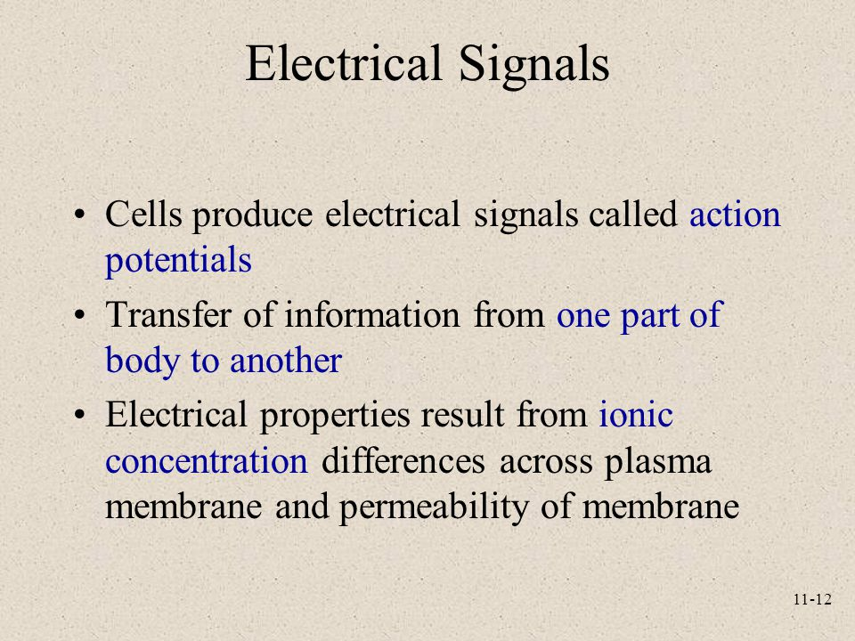 11-12 Electrical Signals Cells produce electrical signals called action potentials Transfer of information from one part of body to another Electrical