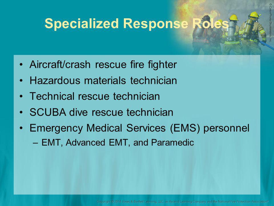 Specialized Response Roles Aircraft/crash rescue fire fighter Hazardous materials technician Technical rescue technician SCUBA dive rescue technician