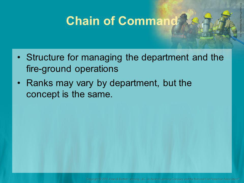 Chain of Command Structure for managing the department and the fire-ground operations Ranks may vary by department, but the concept is the same.