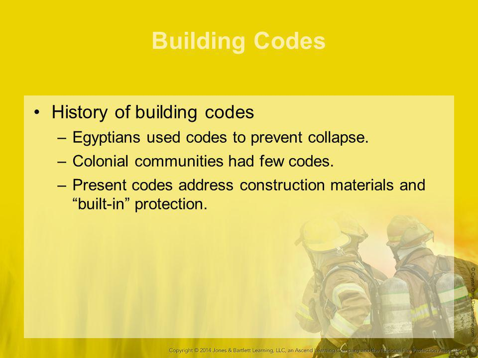 Building Codes History of building codes –Egyptians used codes to prevent collapse. –Colonial communities had few codes. –Present codes address constr