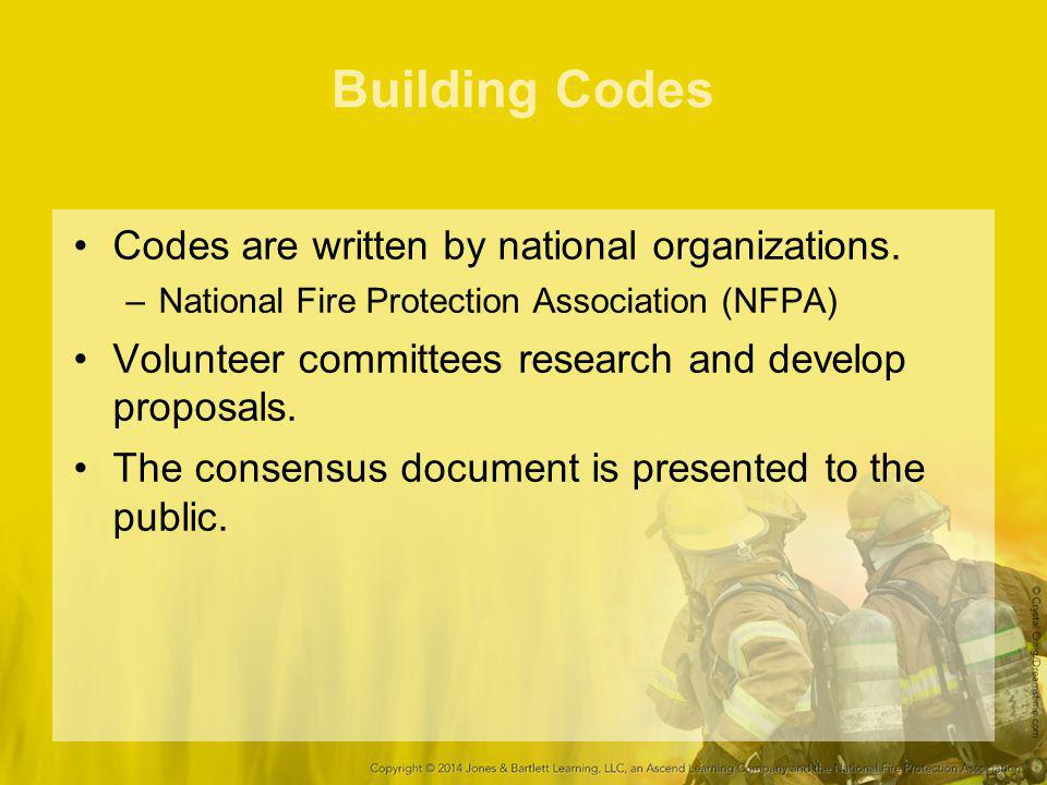 Building Codes Codes are written by national organizations. –National Fire Protection Association (NFPA) Volunteer committees research and develop pro