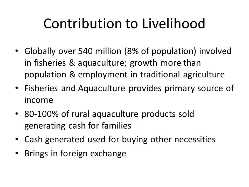 Contribution to Livelihood Globally over 540 million (8% of population) involved in fisheries & aquaculture; growth more than population & employment in traditional agriculture Fisheries and Aquaculture provides primary source of income 80-100% of rural aquaculture products sold generating cash for families Cash generated used for buying other necessities Brings in foreign exchange