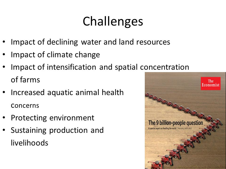 Challenges Impact of declining water and land resources Impact of climate change Impact of intensification and spatial concentration of farms Increased aquatic animal health c oncerns Protecting environment Sustaining production and livelihoods