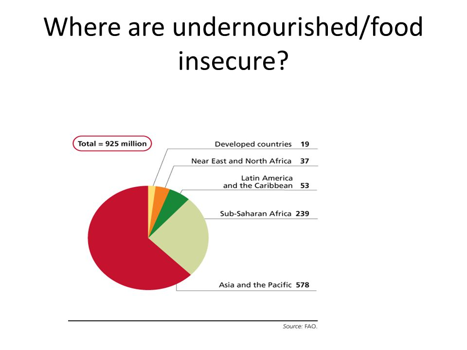 Where are undernourished/food insecure