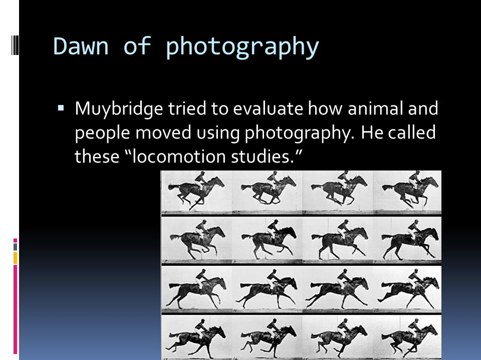 Dawn of photography  Muybridge tried to evaluate how animal and people moved using photography.