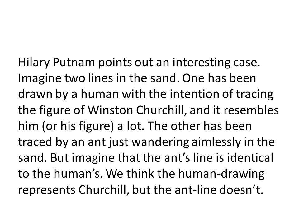 Hilary Putnam points out an interesting case. Imagine two lines in the sand.