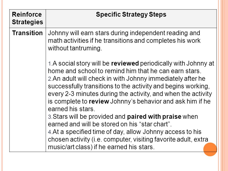 Reinforce Strategies Specific Strategy Steps TransitionJohnny will earn stars during independent reading and math activities if he transitions and completes his work without tantruming.