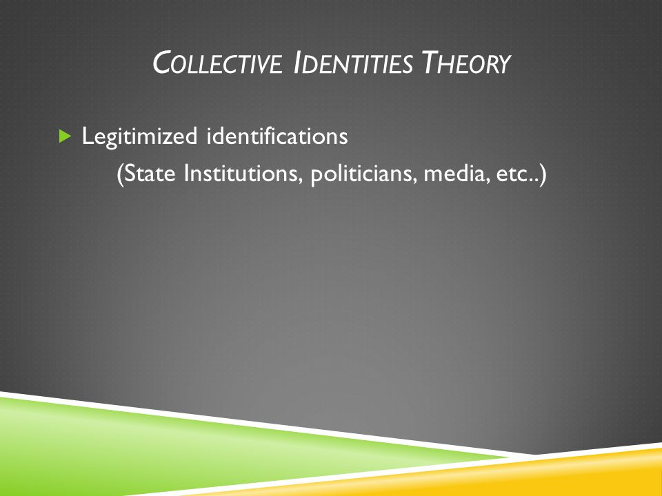 C OLLECTIVE I DENTITIES T HEORY  Legitimized identifications (State Institutions, politicians, media, etc..)